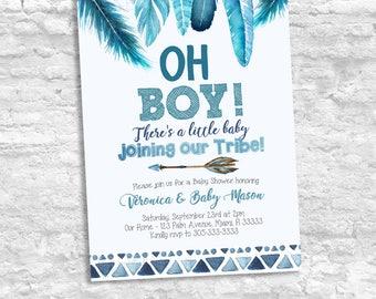 Boho Boy Baby Shower Invitation, Tribal Native Tribe Boy Blue Baby Shower Invitation, Blue Feathers Rustic Boy Baby Shower Invitation