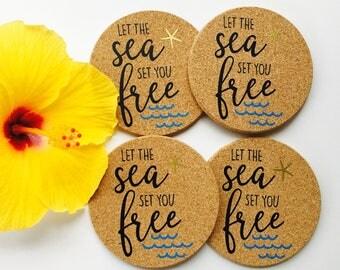 Let the Sea Set You Free Coaster Set ~ Hawaii Coaster Set ~ Ocean Coaster ~ Beach Coaster ~ Hawaii Coaster