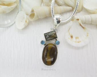 Tiger's Eye Labradorite Blue Topaz Sterling Silver Pendant and Chain