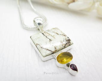 Lemon Chrysoprase Citrine and Amethyst Sterling Silver Pendant and Chain