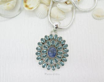 Kyanite and Blue Topaz Sterling Silver Pendant and Chain
