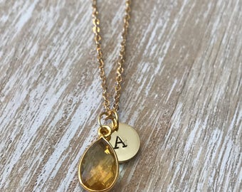 Citrine pendant, Birthstone Initial Necklace, November Birthstone Pendant, initial Stamped Jewelry, Grandma Jewelry gift, Citrine necklace