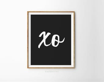 XO print - XOXO print - Typography wall art - Minimalist decor - Black and white - Monochrome art - XO typography - Simple wall prints