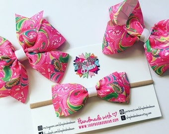 All Nighter, Lilly Pulitzer Inspired Hair Bow, Lilly Pulitzer Bow, Headband, Lilly Bow, Lilly Pulitzer Inspired Ribbon, Buy 5 Get 1 Free