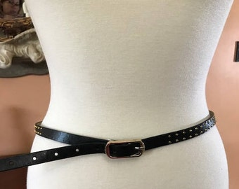Vintage Black Women's Belt with Gold Buckle fit Small and Medium