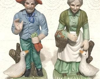 Vintage Cuople Ceramic Figurines With Ducks