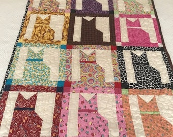 Vintage Hand Stitched Quilt Throw Blanket Patched Quilt 50x36 Made with 12 Colorful Silhouettes of Cats