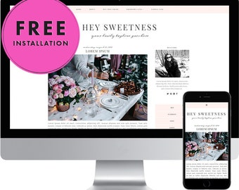 Premade Blogger Template - Responsive Blogger Template - Modern Blogger Template - Feminine Template - Blog Design - Hey Sweetness