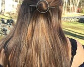 German Silver Circle Smooth Hair Slide - hair clip, barrette, hair jewelry, minimalist, organic shape, boho, chic, modern, minimistic