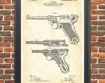 Luger Poster, Luger Pistol, Luger Patent, Luger Print, Luger Pistol Patent, Gun Art, Gun Poster, Gun Room Decor, Gun Collector Gift P301