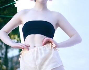 Cotton-silk stripe french knickers / sleepwear / loungewear/  bed shorts / lingerie
