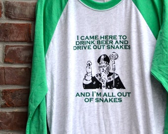 St. Patrick's Day shirt. Beer drinking shirt. Funny St. Patrick's Day tee. St. Patrick's Day green baseball tee. St. Paddy's Day shirt.