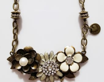 """Studio Made Antique Bronze Floral Enameled """"Love"""" Handmade Necklace One if a Kind"""