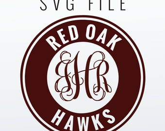 Red Oak Hawks Monogram Frame Cutting Files in Svg, Eps, Dxf, Png for Cricut & Silhouette | Red Oak Vector | Hawks Graphics