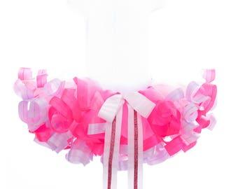 Ribbon trim tutu, pink tutu skirt, cake smash tutu, photo tutu, 2nd birthday tutu, satin trim tutu, princess tutu, tutu skirt.