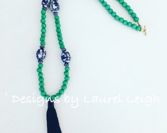 GREEN Chinoiserie Beaded Tassel Necklace | blue and white, statement necklace, long, navy, emerald, kelly green, Designs by Laurel Leigh