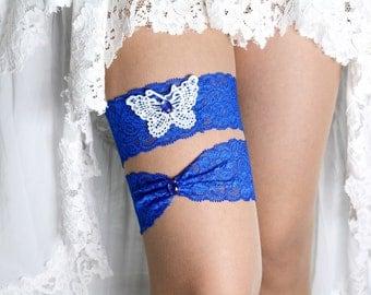 Wedding Garter Set Royal Blue Lace Rihenstones For Bride, Garter Set, Bridal Garter Blue, Garter Royal Blue, Wedding Butterfly, Toss Garter