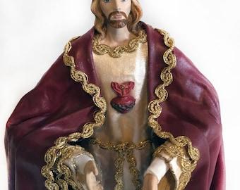 "Sacred Heart of Jesus Statue 14"" figure Catholic Christian Saints Plaster Religious"