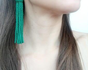 Green tassel earrings Oscar de La Renta long tassel statement earrings boho earrings bohemian earrings fringe earrings short tassel earrings
