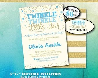 Twinkle Twinkle Little Star Baby Shower Invitation-Editable Baby Shower Invite-Printable Invitation-Twinkle Twinkle Little Star-B-402
