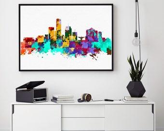 Milwaukee Skyline Print, Milwaukee Painting, Milwaukee Art, Milwaukee Wall Decor, Watercolor Milwaukee, Wisconsin (N187)