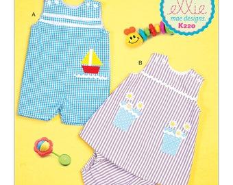 Sewing Pattern for Infants' Overalls, Dress & Panties, Kwik Sew Pattern 0220, Ellie Mae Design, Baby Girl Dress,  Baby Boy Romper- Appliques