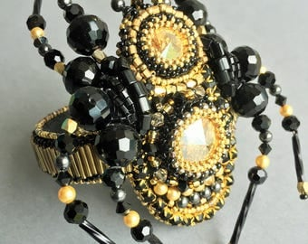 Black and gold Swarovski Crystal Jewelry bracelet Spider bracelet