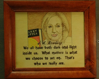 J K Rowling - portrait and quote