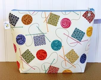 Knitting Project Bag, Project Bag, Knitting Bag, Wedge Bag, Wedge Project Bag,Yarn tote bag, Zippered Project Bag, Yarn Bowl, Knitting Tote