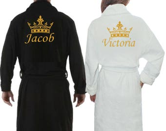 Personalised dressing gown, bath robe, customised gift, His and hers robes, wedding gift, embroidered name, couples robes, Gift for him