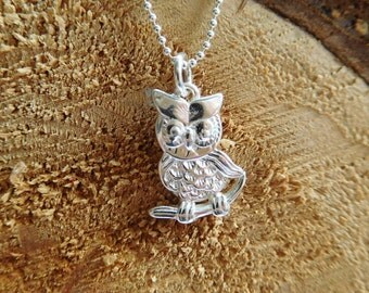 Sterling Silver Owl Necklace, Silver Owl Pendant, Charm Necklace, Silver Bird Charm, Nature Necklace, Gift Boxed, Graduation Gift, Wisdom