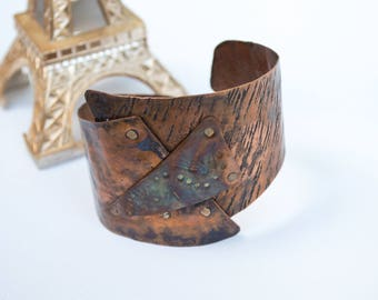 Copper cuff | handmade bracelet | hand corged | rustic | rainbow patina | copper | adjustable bracelet | unique gift | hammered jewelry