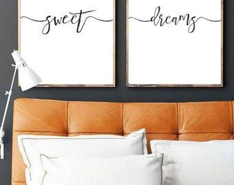 Sweet Dreams Printable Set, Bed Wall Art, Printable, Bed Print, Minimalist Wall Art, Bed Quote, Sleep Print, Sleep Quote, Kids Room, Nursery