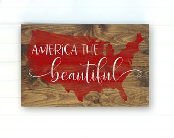 America the Beautiful - America Sign - 4th of July Sign - 4th of July Decor - Patriotic Sign - Fourth of July Sign - Americana - Pallet Sign