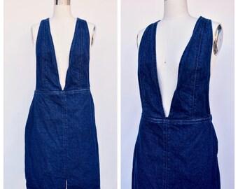 RESERVED////blue denim deep V pinafore / criss cross back dress / large
