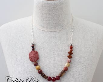 Autumn Necklace Red Gemstone necklace Quirky Necklace Asymmetrical Necklace Fall Necklace Mookaite Jasper necklace - Autumn Ambers