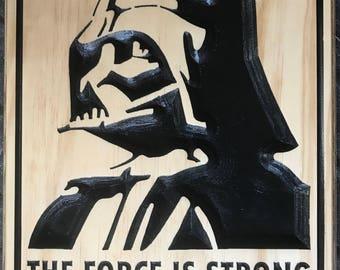 Darth Vader Carved Wooden Sign