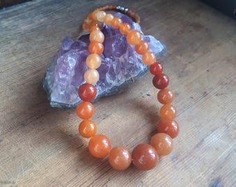 Natural Red / Orange Aventurine Necklace