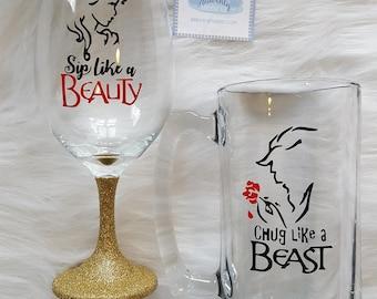 Sip Like a Beauty Chug Like a Beast Glass Set // Couples Beer Gift // Couples Gift // Beauty and Beast Drinkware Set // Beauty and Beast