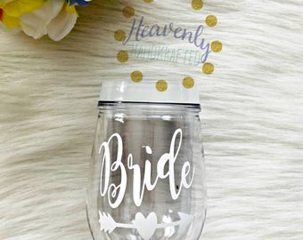Bride Acrylic Stemless Wine Glass // Bride Wine Glass // Bride Cup // Engagement Gift // Bachelorette // Wedding Gift // Bride Gift