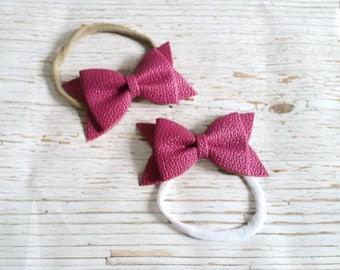 Dark Pink Faux Leather Bow on White or Nude Nylon Elastic Headband | Vegan leather baby headband | Baby Shower Gift | Infant Headband
