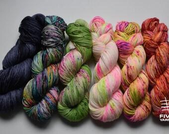 Hand dyed sock yarn, Set of 6x100g skeins - Night and Day - What the Fade set - Sock- 85 Superwash Merino - 15 Nylon, Handdyed yarn