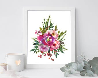 Christmas flower bouquet, Christmas digital, Christmas art, Christmas printable, flower digital, flower bouquet art, flower art print