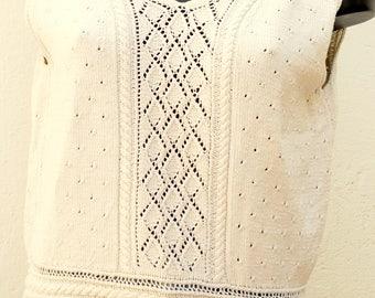 Pull vintage sans manches détails crochet Taille 38 FR