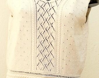 Vintage beige sweater crochet details Size 38 FR