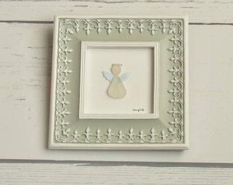 Seaglass angel, 6x6 tabletop framed art, Seaglass art, Sea glass art