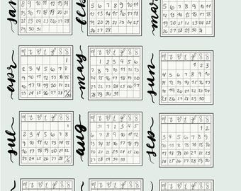 2018 Monthly Calendar Stickers