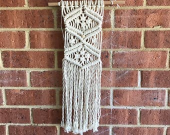 SMALL - Criss-Cross Beaded Macrame Wallhanging