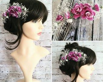 Purple Rose Flower Comb
