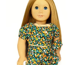 Crop Peasant Top, Short Sleeve, Floral, Black, Orange, Turquoise, White, Fits dolls such as American Girl, 18 inch Doll Clothes, Flowers